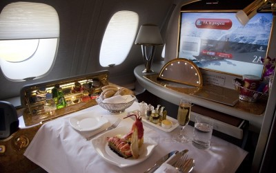 Una zona all'interno dell'aereo A380 di Fly Emirates